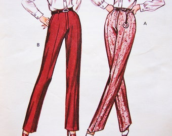 1970s Pants Pattern Misses Size 6 8 10 12 UNCUT Womens Straight Leg Pants, High Waist Pants Pattern, Vintage Sewing Pattern