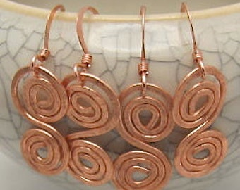 Copper Wire Earrings - Small Double Spiral Earrings. Lightweight Copper Wire Earrings.