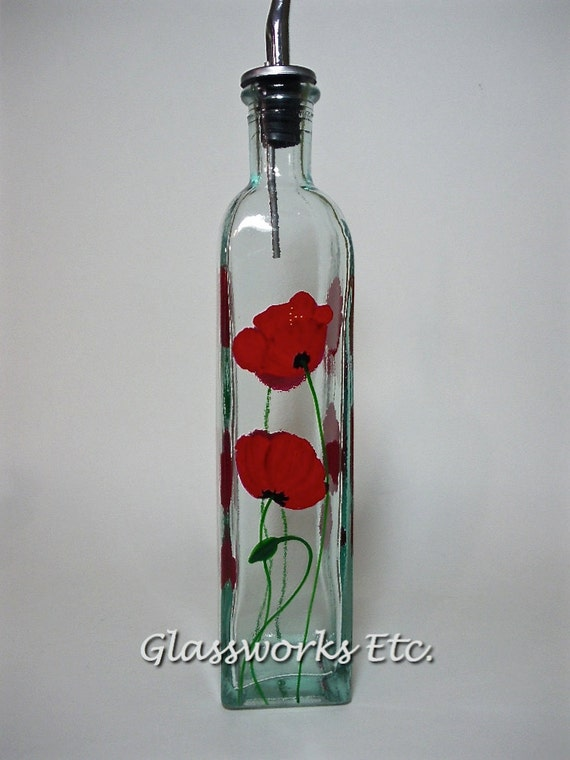 Olive oil bottle red poppies hand painted recycled glass