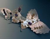 Butterflies Butterfly Brooch Pin OOAK Topaz Amethyst Citrine Sterling Silver