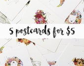 SALE! 5 Postcards for 5