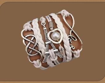 Friendship infinity Paris pearl Leather cords adjustable Charm Bracelet