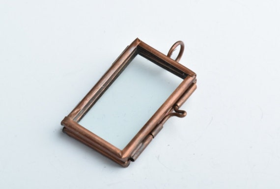 6 Our Glass Lockets Frame Pendants, Hinged Rectangle, G2329