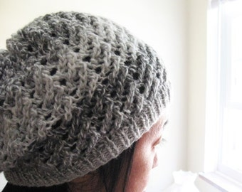 Knit Lace Pattern hat, PDF pattern, simple stitches for beginner, multiple of 4 stitches pattern, 1 ball knitting project, beanie pattern