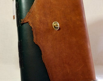 Summer SALE: Large Green and Brown Leather Sketchbook with Watercolor Paper