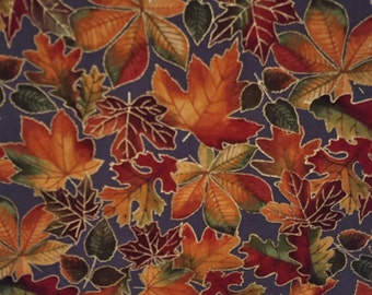 Cotton fabric FALL LEAVES on GRAY Autumn Sparkle Chestnut Maple Oak Leaves Half Yard Excellent Fabric for Creative Genius Projects