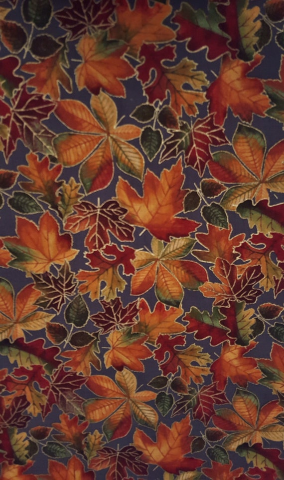 Cotton Fabric Fall Leaves On Gray Autumn Sparkle Chestnut