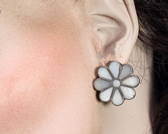 Zuni Inlay Clip Earrings - Sterling MOP Floral Flush Inlay - Mid Century - Vintage Native American