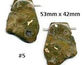 Rhyolite Pendant Bead, Rainforest Jasper, Large Freeform 53mm x 42mm Size, All Natural, Item #5