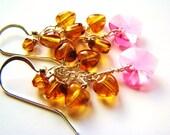 Natural Baltic Amber Heart Earrings, Swarovski Crystal Heart Earrings, Sterling Silver Earrings, Loving GIFT For Her, READY To Ship