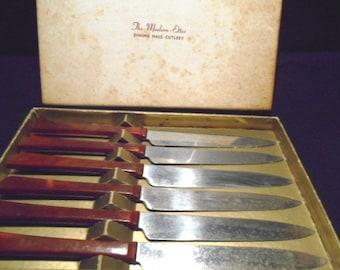 Set of 6 Kaylan Cutlery Early Plastic Steak Knives/ Box