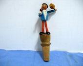 Vintage Mechanical Wooden Bottle Stopper Man w/ Wine Bottle Drunk Dancing Anri Era