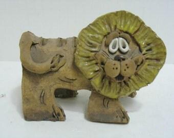 Vintage Lion Animal Sculpture Utensil Holder Signed Hindt Brutalist Abstract