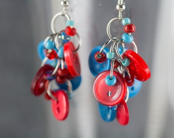 Button Dangle Earrings / Turquoise Red and Blue Jewelry / Fun Blue and Red Earrings by randomcreative on Etsy