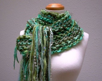 faerie hideaway. handknit art yarn scarf . enchanted forest knit scarf . merino wool mohair sari silk sparkle sequins . turquoise moss green
