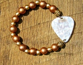 Shine On Mason Jar Guitar Pick Bracelet with Copper Gold Wood Beads Southern girl charm pride saying phrase moonshine country music