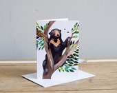 Sun Bear & Bees Greetings Card