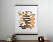 "18x24"" Gold Foil Self Hung Wall Print - Geo Triangles // Balsa Wood Hung Gold Foil Mod Triangle Poster // Rustic Weathered Gold Wall Hanging"