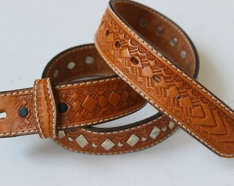Vintage Leather Brown Belt Strap with Diamond Medallions Conchas Double Snap