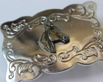 Vintage Silver Belt Buckle Horse Head Profile Rectangular Small Belt Buckle Horses Head Belt Buckle