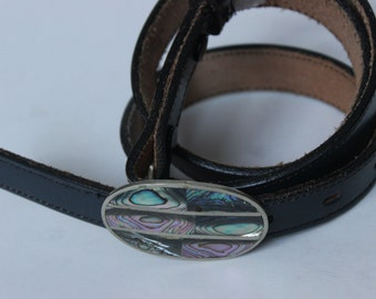 Vintage 3D Mother of Pearl Alpaca Belt Leather Navy Blue Belt Full Grain Cowhide Size 30