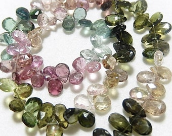 Watermelon Tourmaline Gemstone, Faceted Pear Briolette. 6mm,  Semi Precious Gemstone. 4 Briolettes. (75tml1)