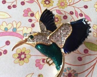 Vintage Rhinestone Enamel Hummingbird Brooch Pin Bird Animal