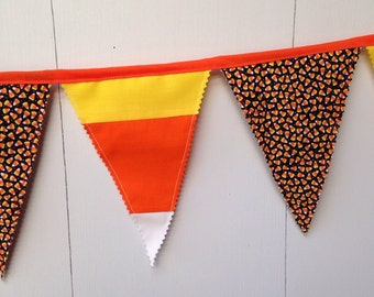 Candy Corn Decor, Candy Corn Banner, Candy Corn Bunting, Candy Corn Pennant Flags, 9 flags