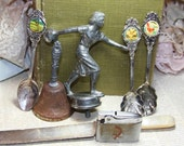 Assemblage Lot- Silver- Dodge Bowling Trophy- Collectible Spoons- Bell- Lighter- Mother of Pearl Knife