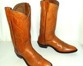Tan Womens Cowboy Boots Acme brand size 9 A Narrow Cowgirl western boho