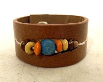 Small Brown Cuff Bracelet Beads Boho Hippie western fashion jewelry turquoise orange yellow