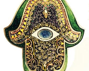 Hamsa Stained Glass   Evil eye handmade Swarovski crystal Unique Gift Israel