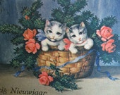 SALE !!! Antique Postcard. From my album Cats and Kittens.  1930 era