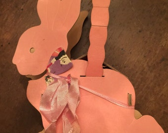 Adorable Antique Pink Easter Bunny Candy Container Basket