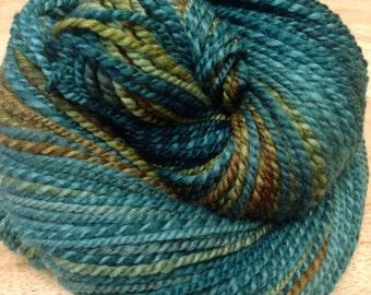 "Handspun Yarn Worsted Polwarth Silk ""Rising Tide"" 200 yds."