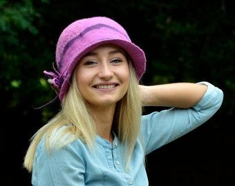 felt hat 1920s Hat Felted Hat Pink cloche wool felt flapper art deco hats Felt retro hat nunofelt Hat