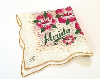 Florida souvenir handkerchief hanky harvest gold hibiscus flowers mint with original tag Floridiana souvenir MWT