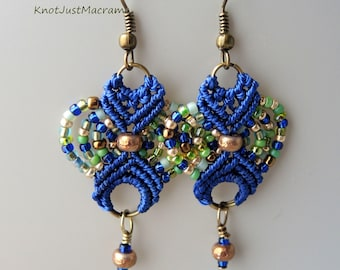 Green, Blue and Gold Colored Beaded Macrame Earrings MicroMacrame