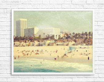 BUY 2 GET 1 FREE Santa Monica, So cal, Beach, Summer, Retro Inspired, Travel Photography, Ocean, Blue, Sand - The Best Place on Earth  Fin