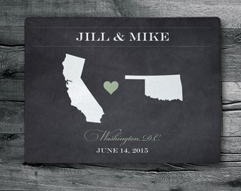 Personalized Cutting Board, Wedding Gift, Maps and heart