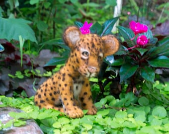 Needle Felted Animal Leopard Cub Sculpture