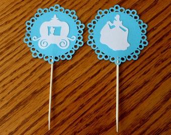 Cinderella Cupcake Picks -- Set of 12