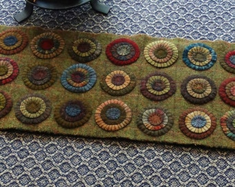 Primitive Handmade Wool Penny Rug Rich Primitive colors