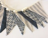 Christmas Bunting Scandinavian Style in Grey - 12 flag Fabric bunting 8ft with ties.