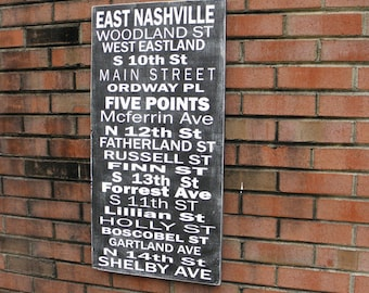 East Nashville Sign, Bus Roll Sign, Custom Subway Art, Bus Scroll, Destination Art, Wedding or Anniversary gift, SIZE 12x24 inches