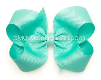 "Robin's Egg Blue Bow, 4 inch Hair Bow, Light Turquoise, 4"" Boutique Bow, Basic Bow for Girls, Baby Toddler Girls, Jewelry Box Blue Hairbow"