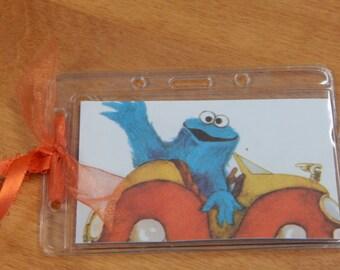 Luggage Bag Tag ID Holder Sesame Street Cookie Monster