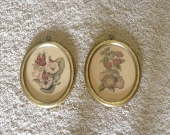 Pair of Retro Vintage Floral Oval Framed Prints, 11x9 inch.