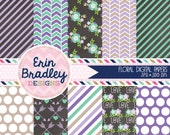 Floral Digital Papers in Purple & Blue Stripes Flowers and Arrow Patterns Digital Paper Pack