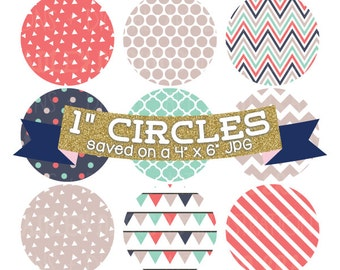 "ON SALE Digital Collage Sheet 1"" Digital Bottlecap Images Triangle Collection Personal & Commercial Use One Inch Circles"